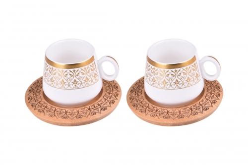 Ottoman 2 Kişilik Kahve Takımı Desen Altlıklı